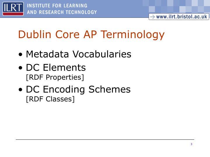 Dublin Core AP Terminology