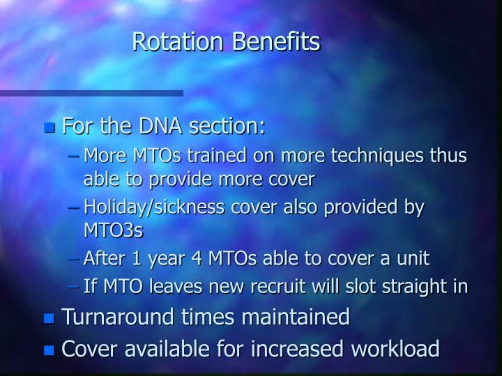 Rotation Benefits