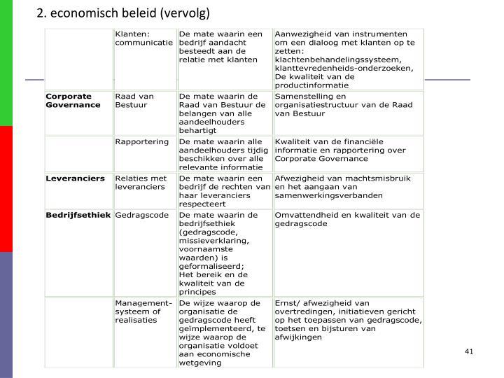 2. economisch beleid (vervolg)