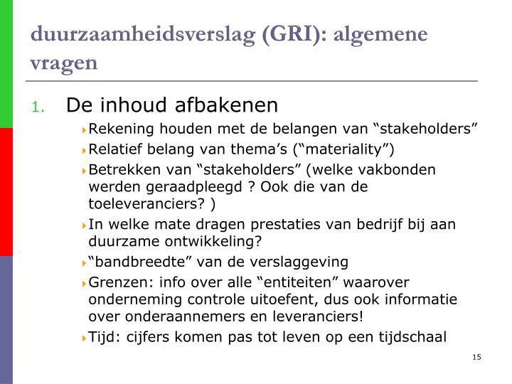 duurzaamheidsverslag (GRI): algemene vragen