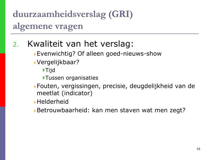 duurzaamheidsverslag (GRI)