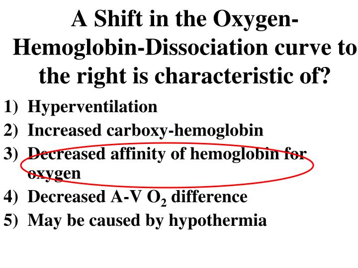 A Shift in the Oxygen-Hemoglobin-Dissociation curve to the right is characteristic of?