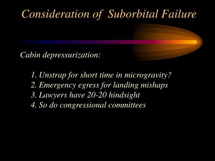 Consideration of  Suborbital Failure