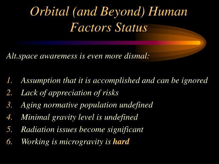 Orbital (and Beyond) Human Factors Status
