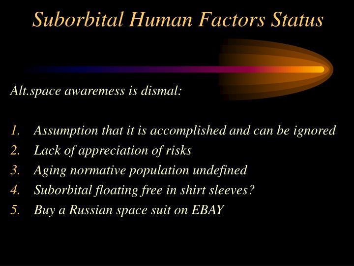 Suborbital Human Factors Status