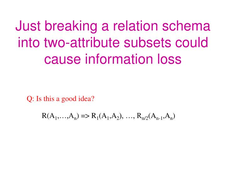 Just breaking a relation schema into two-attribute subsets could cause information loss