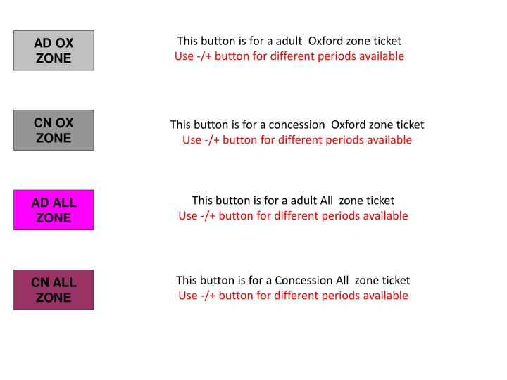 This button is for a adult  Oxford zone ticket