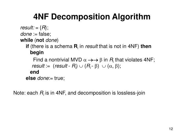 4NF Decomposition Algorithm