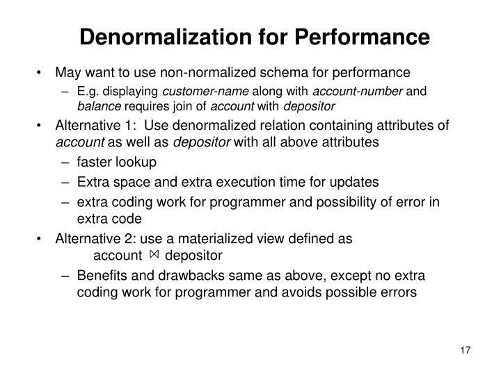 Denormalization for Performance