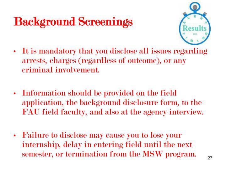 Background Screenings
