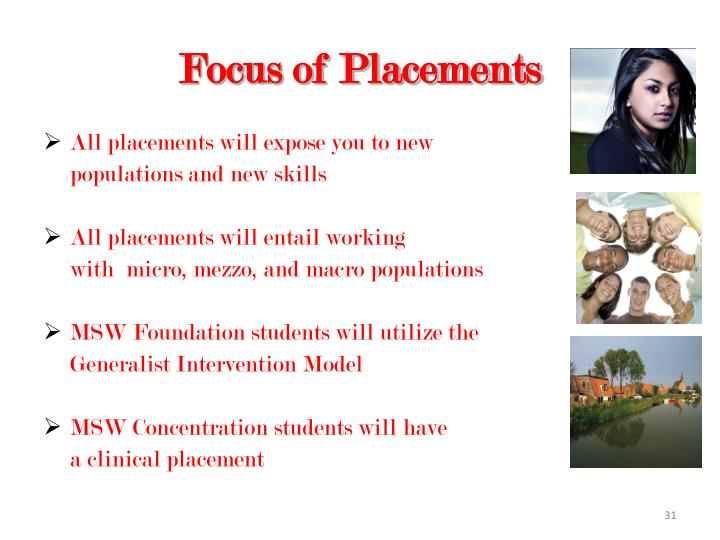 Focus of Placements