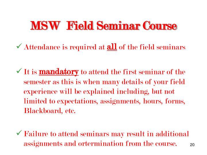 MSW  Field Seminar Course