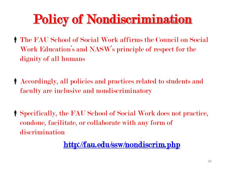 Policy of Nondiscrimination