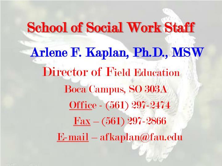 School of Social Work Staff