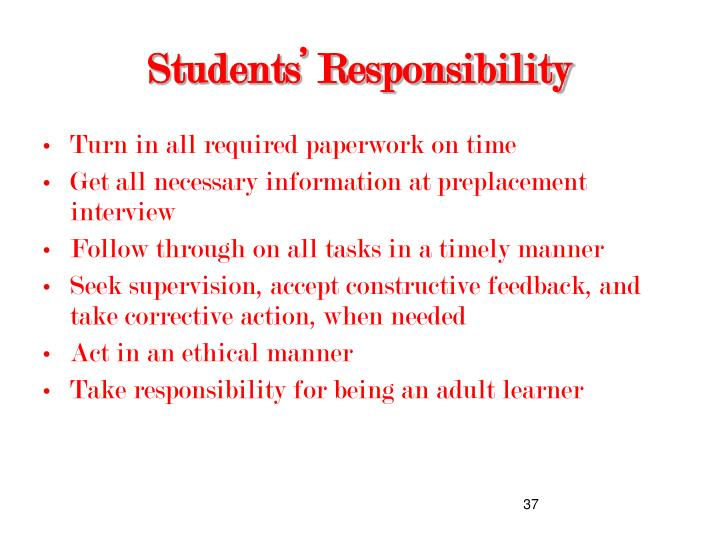 Students' Responsibility