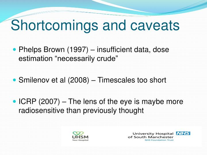 Shortcomings and caveats