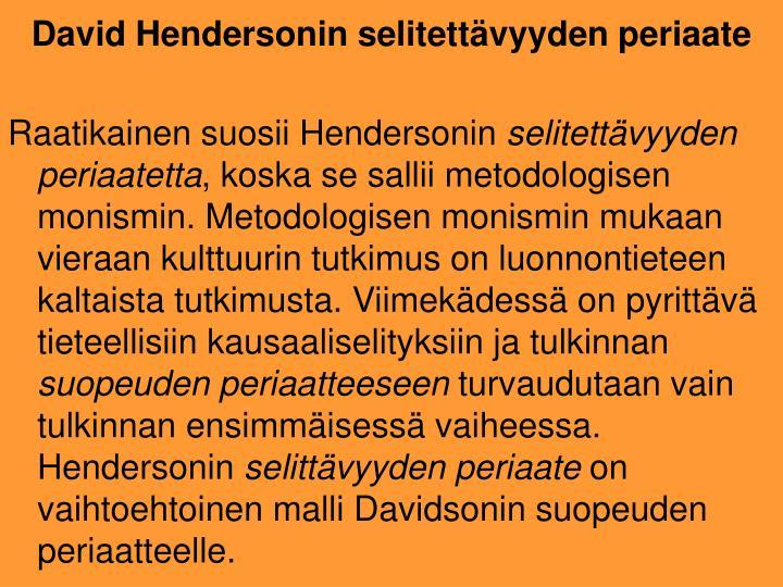 Raatikainen suosii Hendersonin