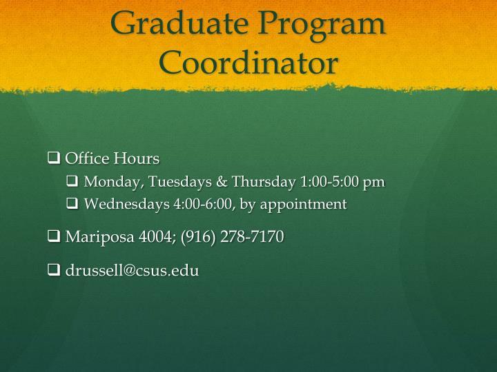 Graduate Program Coordinator