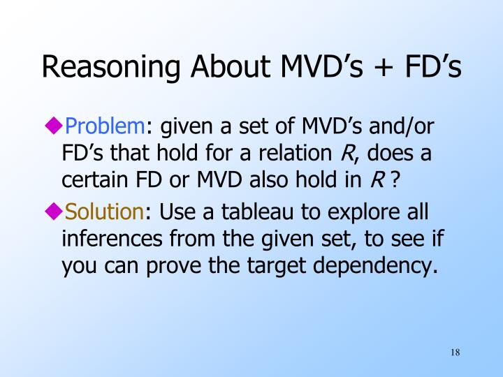 Reasoning About MVD's + FD's