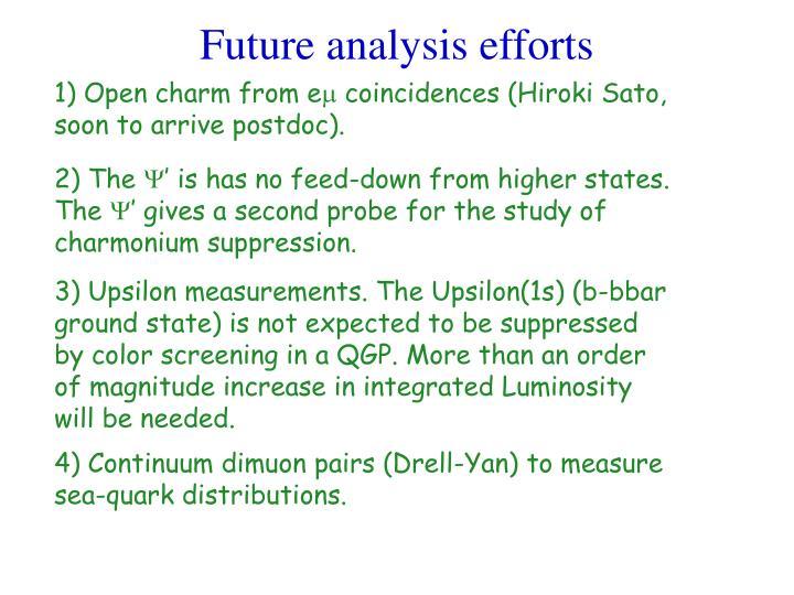 Future analysis efforts
