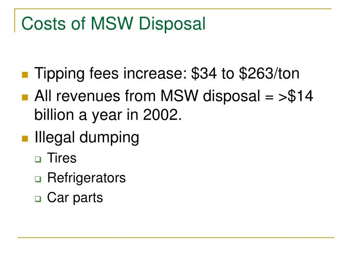 Costs of MSW Disposal