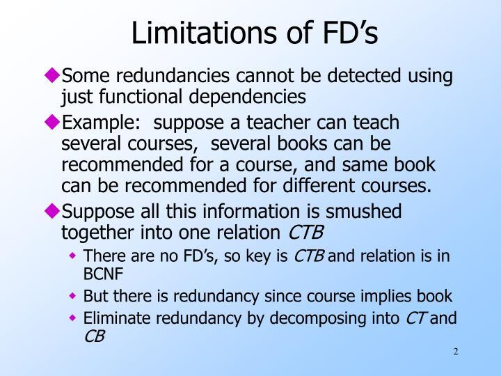 Limitations of FD's
