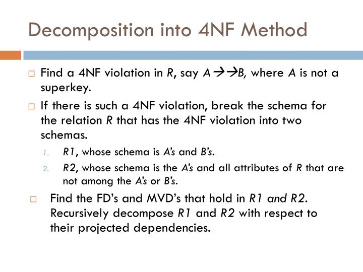 Decomposition into 4NF Method