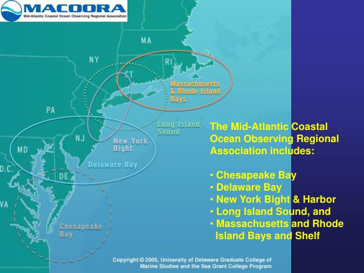 The Mid-Atlantic Coastal Ocean Observing Regional Association includes: