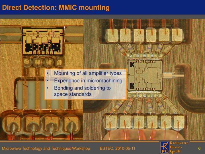 Direct Detection: MMIC mounting