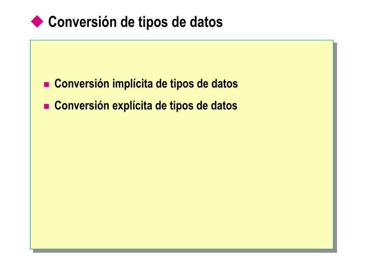 Conversión de tipos de datos