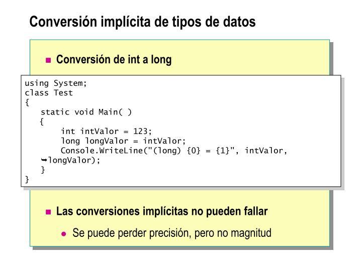 Conversión implícita de tipos de datos