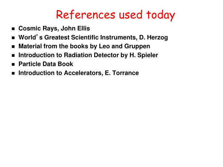 References used today