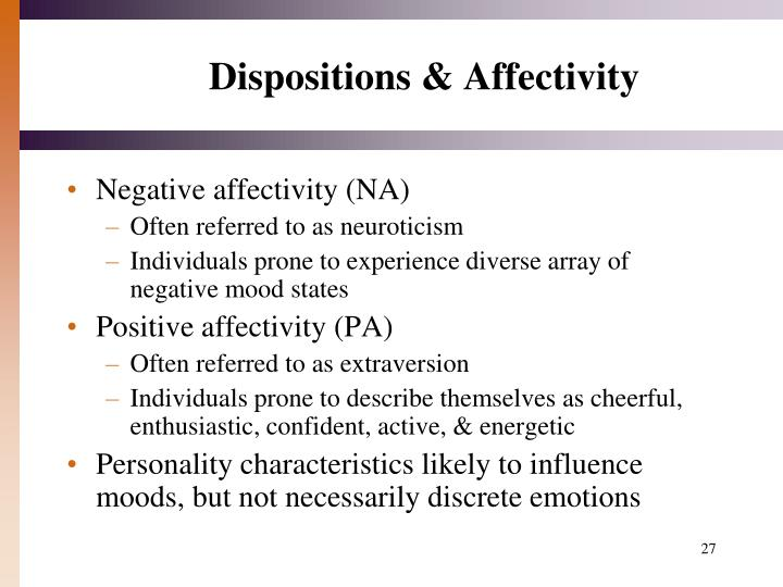 Dispositions & Affectivity
