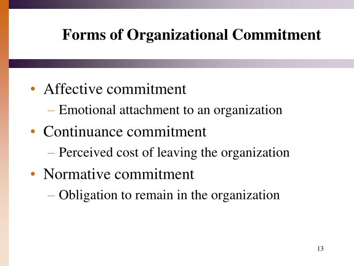 Forms of Organizational Commitment