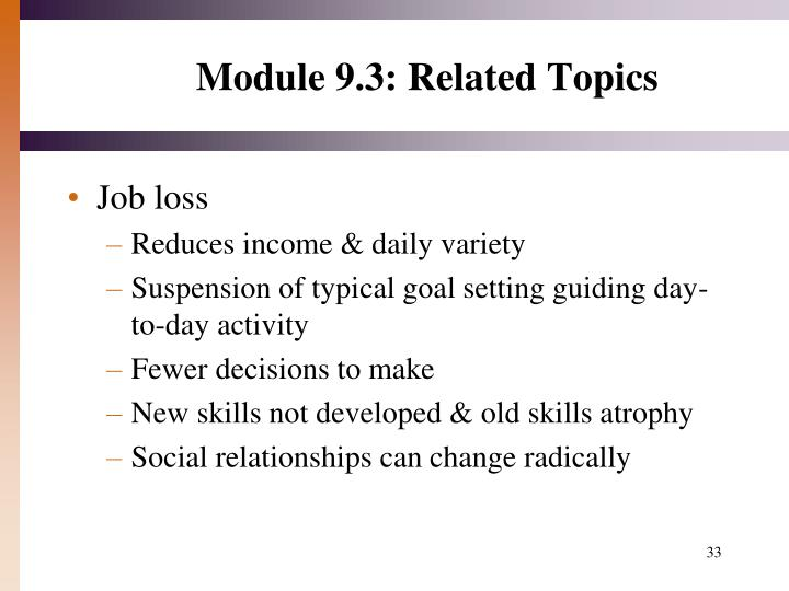 Module 9.3: Related Topics