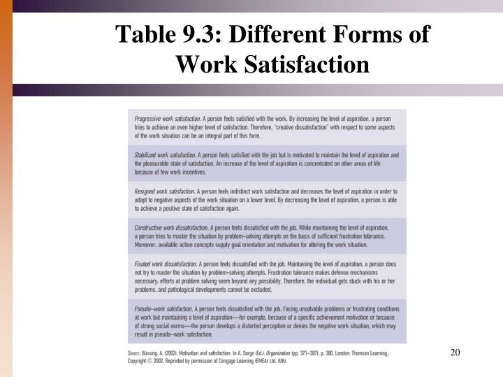 Table 9.3: Different Forms of Work Satisfaction