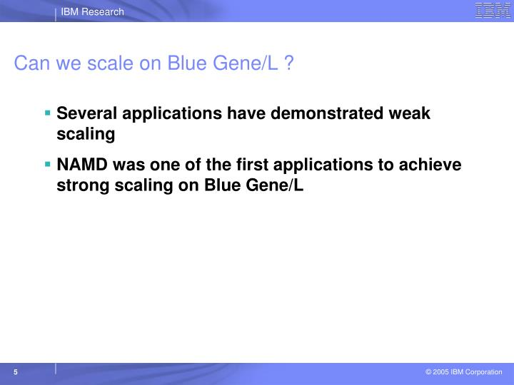 Can we scale on Blue Gene/L ?