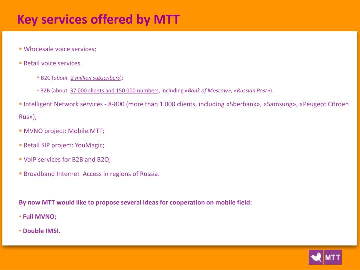 Key services offered by MTT
