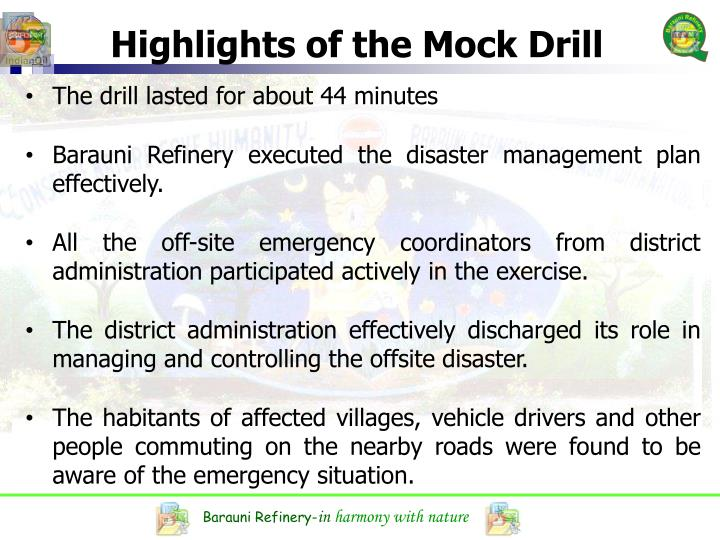 Highlights of the Mock Drill