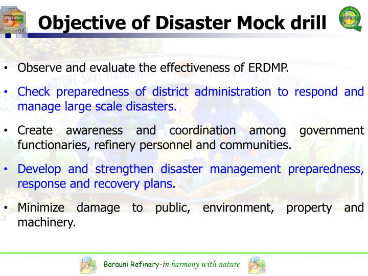 Objective of Disaster Mock drill