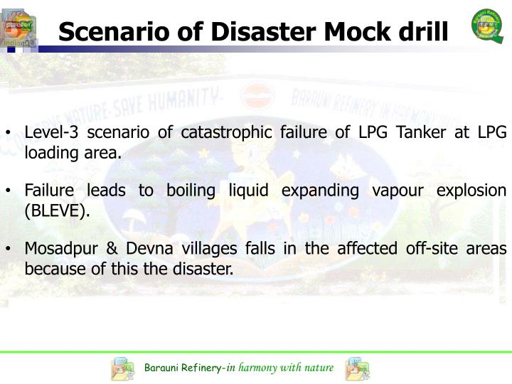 Scenario of Disaster Mock drill