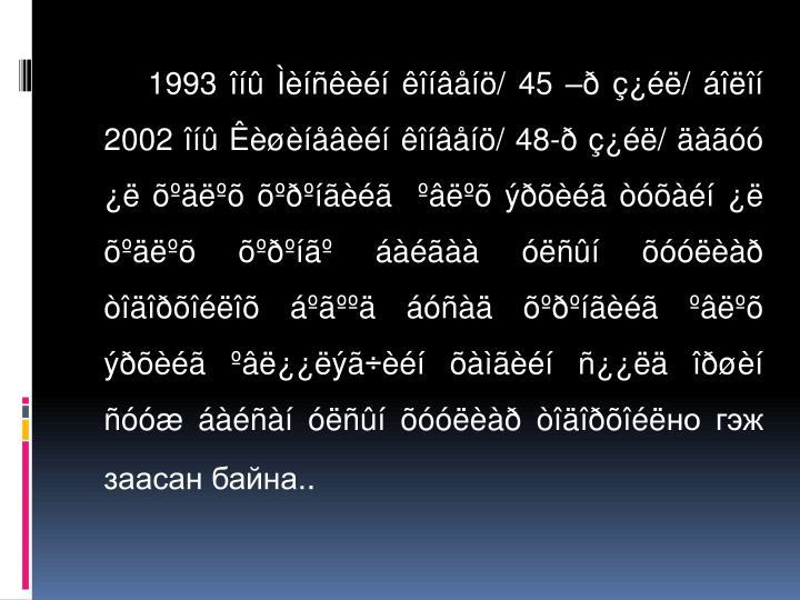1993 îíû Ìèíñêèéí êîíâåíö/ 45 –ð ç¿éë/ áîëîí 2002 îíû Êèøèíåâèéí êîíâåíö/ 48-ð ç¿éë/ äàãóó ¿ë õºäëºõ õºðºíãèéã  ºâëºõ ýðõèéã òóõàéí ¿ë õºäëºõ õºðºí㺠áàéãàà óëñûí õóóëèàð òîäîðõîéëîõ áºãººä áóñàä õºðºíãèéã ºâëºõ ýðõèéã ºâë¿¿ëýã÷èéí õàìãèéí ñ¿¿ëä îðøèí ñóóæ áàéñàí óëñûí õóóëèàð òîäîðõîéë