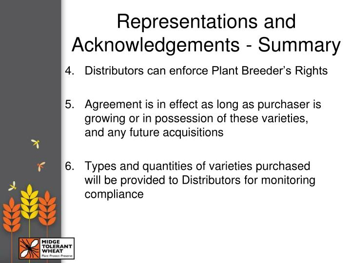 Representations and Acknowledgements - Summary