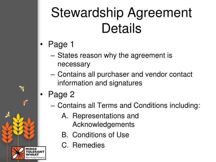 Stewardship Agreement Details