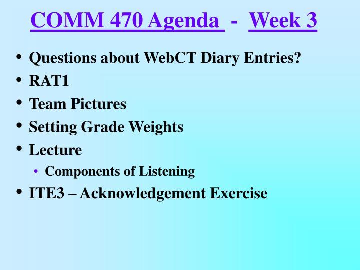 COMM 470 Agenda
