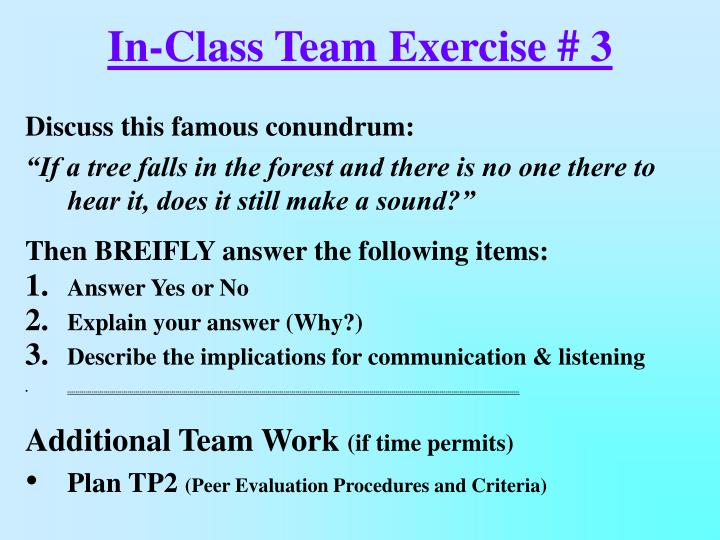 In-Class Team Exercise # 3