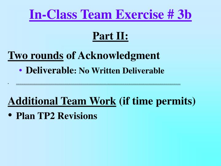 In-Class Team Exercise # 3b