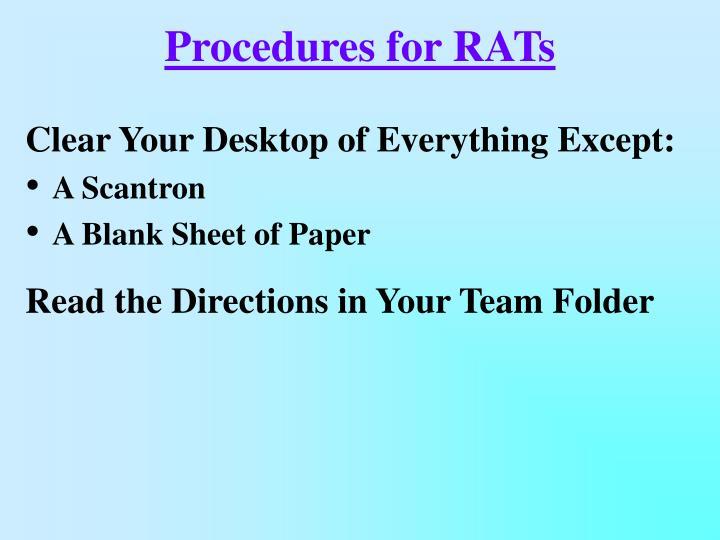 Procedures for RATs