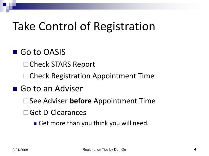 Take Control of Registration
