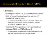 removal of switch hold mvi3